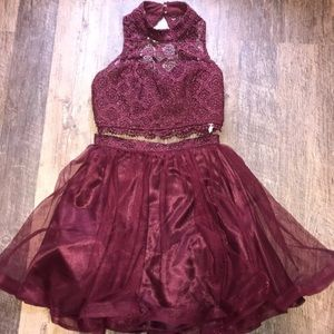 Sequin Hearts two piece burgundy homecoming dress